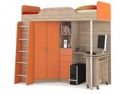 Кровать-чердак со столом Ника 427 Т Оранжевый