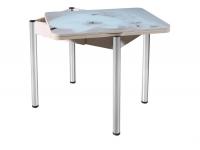 Стол раздвижной со стеклом Ника с ящиком хром
