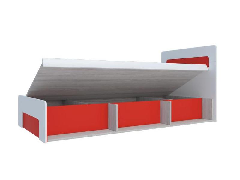 Кровать с подъемным механизмом Палермо-Юниор красная вставка 960х900х2048 мм