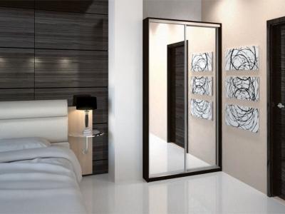 Шкаф-купе Ксения венге с двумя зеркалами