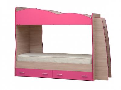 Кровать детская двухъярусная Юниор-1.1 ярко-розовый