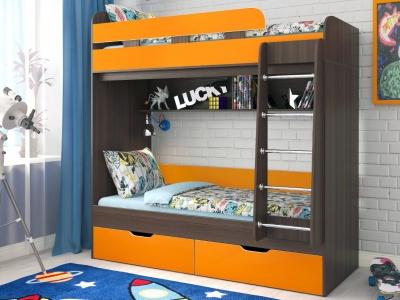 Кровать двухъярусная Юниор 5 бодега-оранжевый